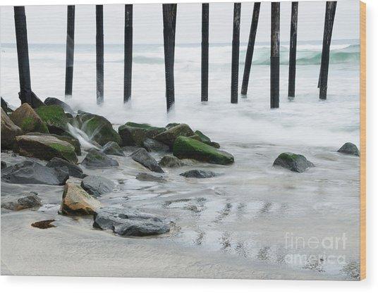 Pilings At Oceanside Wood Print