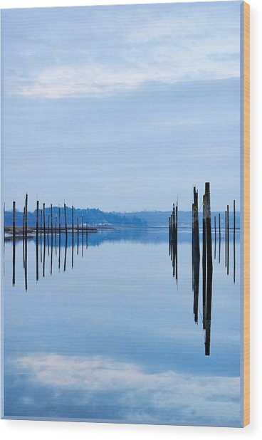 Pilings At Sea With Floating Docks Wood Print by Tom Reese, www.wowography.com
