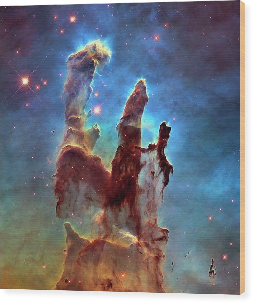 Pillars Of Creation In Eagle Nebula Wood Print