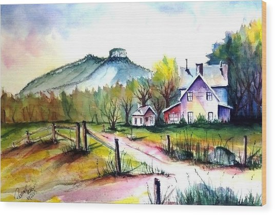 Pilot Mountain Nc Farm Road Sold Wood Print