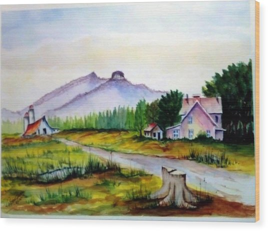 Pilot Mountain Nc Farm Scene Wood Print