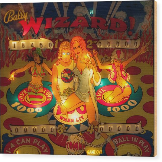 Pinball Wizard Tommy Vintage Wood Print
