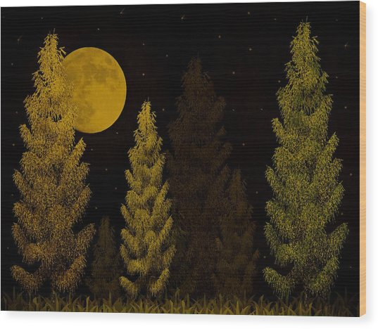 Pine Forest Moon Wood Print