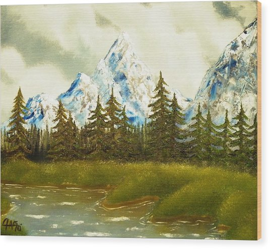Pine Mountain River Wood Print