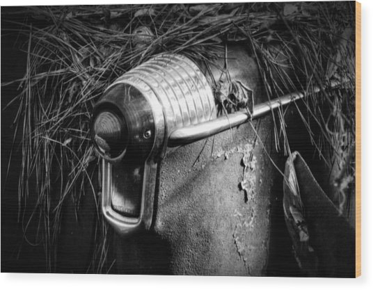 Pine Needles On Tail Light In Black And White Wood Print