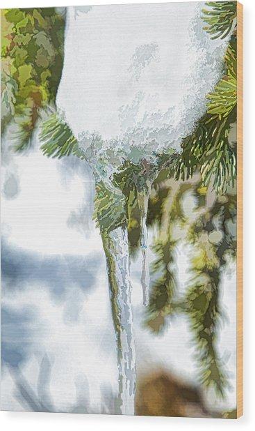 Pine Snow And Ice Wood Print