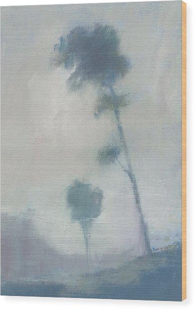 Pine Trees Through The Twilight Mist Wood Print by Alan Daysh