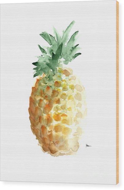 Pineapple Art Print Watercolor Painting Wood Print