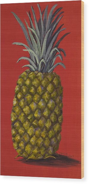 Pineapple On Red Wood Print