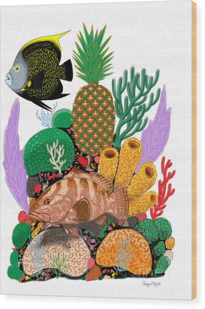 Pineapple Reef Wood Print