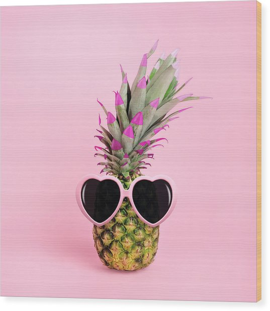 Pineapple Wearing Sunglasses Wood Print by Juj Winn