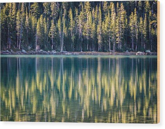 Pines Reflected In Tenaya Lake Wood Print