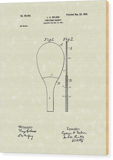 Ping-pong Racket 1902 Patent Art Wood Print