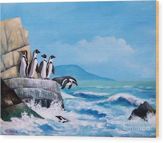 Pinguinos De Humboldt Wood Print