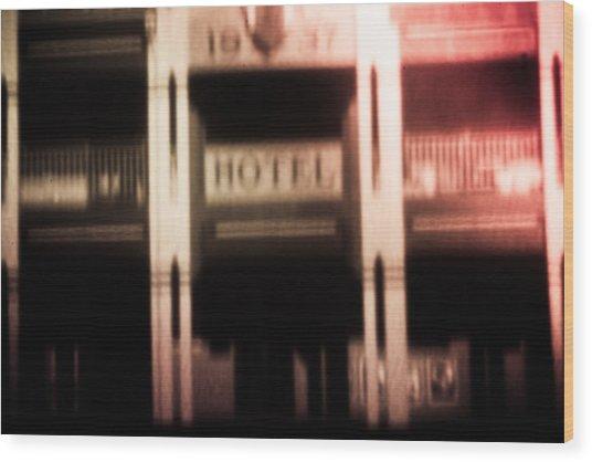 Pinholed Hotel  Wood Print