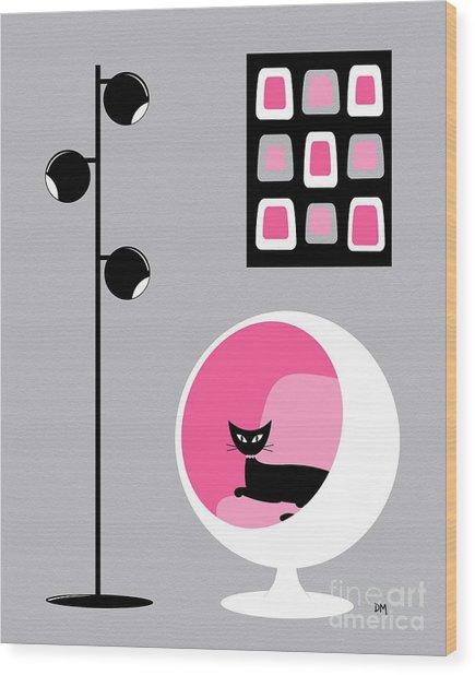 Pink 1 On Gray Wood Print
