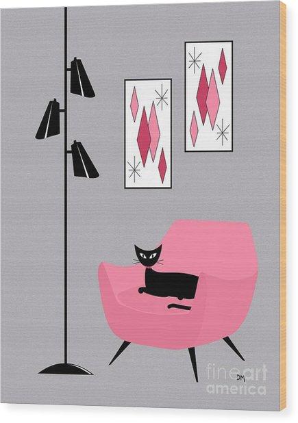 Pink 2 On Gray Wood Print