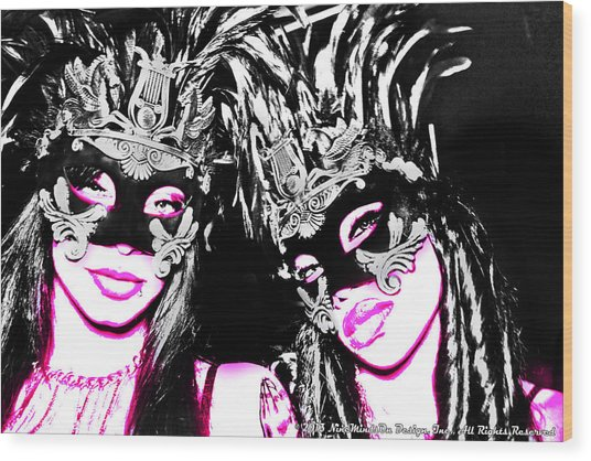Pink And Black  Wood Print by Ley Clarie Gray