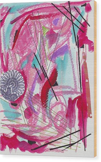 Pink And Black Lines Wood Print