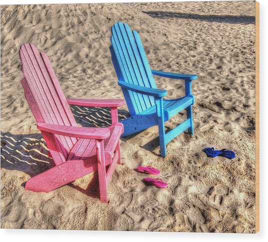 Pink And Blue Beach Chairs With Matching Flip Flops Wood Print