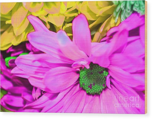 Pink And Green Flowers Wood Print by LLaura Burge