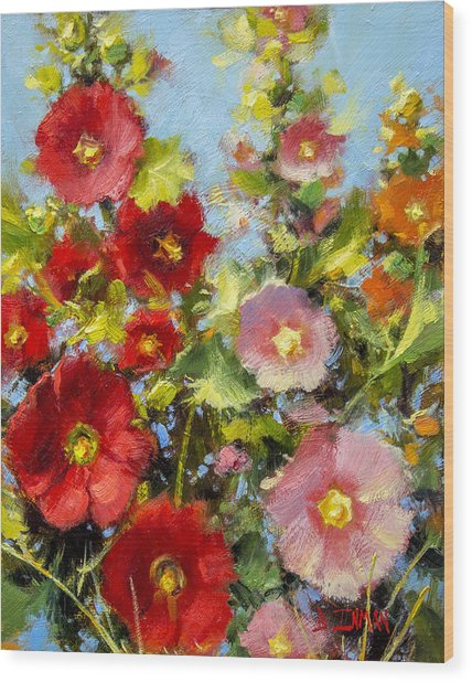 Pink And Red In The Flower Bed Wood Print by Bill Inman