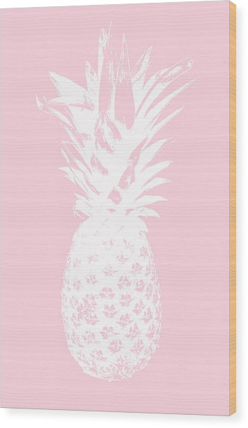 Pink And White Pineapple Wood Print