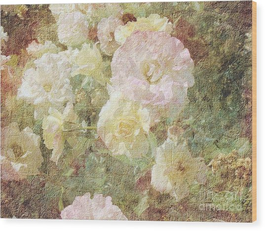 Pink And White Roses With Tapestry Look Wood Print