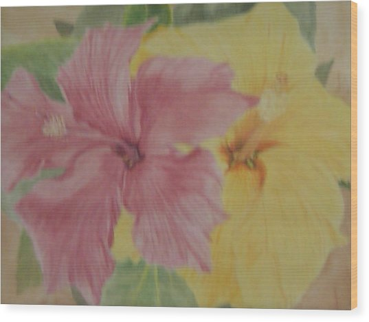 Pink And Yellow Hibiscus Wood Print