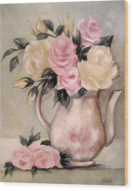 Pink And Yellow Roses In Teapot Painting Wood Print