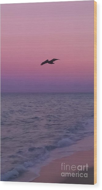 Pink Beach Sunset Wood Print