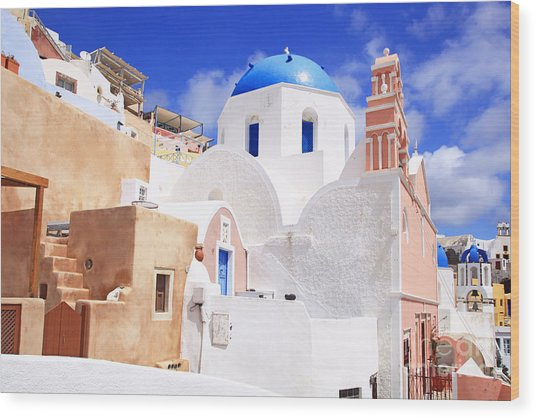 Pink Bell Tower And Blue Dome Church Wood Print
