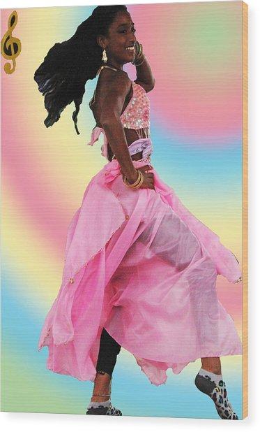Pink Belly Dancer Wood Print