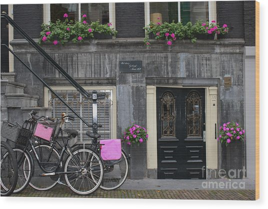 Pink Bikes Of Amsterdam Wood Print