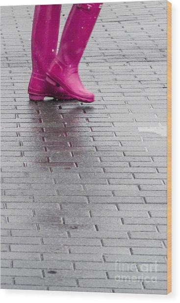 Pink Boots 1 Wood Print