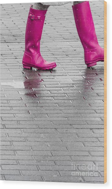 Pink Boots 2 Wood Print