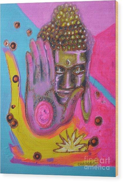 Pink Buddha Wood Print by Donna Chaasadah