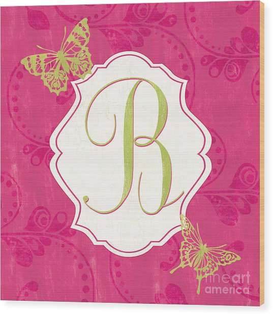 Pink Butterfly Monogram Wood Print