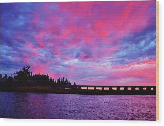 Pink Cloud Invasion Sunset Wood Print