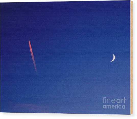 Pink Con Trail And Moon Wood Print