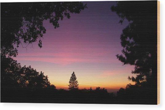 Pink Contrails Wood Print