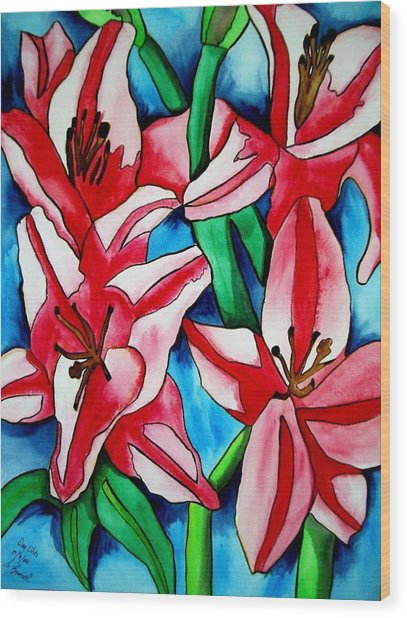 Pink Day Lilies Wood Print by Sacha Grossel