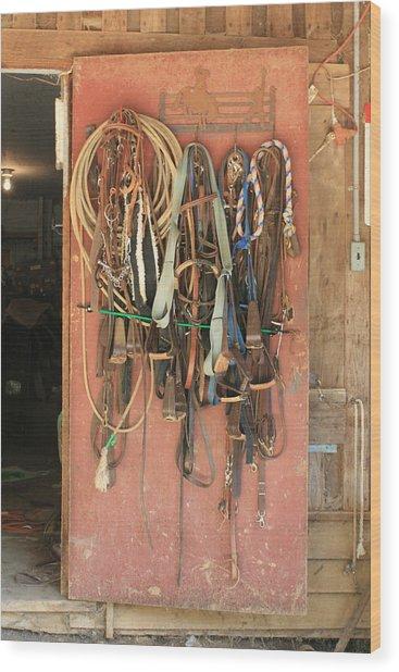 Pink Door Tack Wood Print by Paulette Maffucci