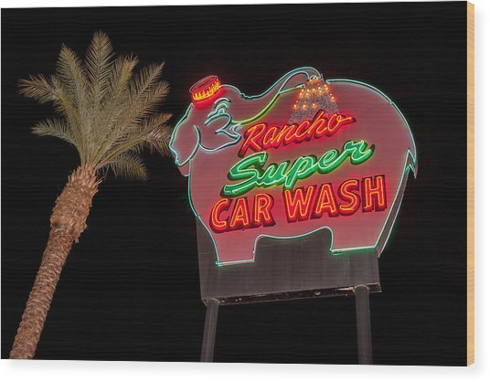 Pink Elephant Car Wash 36 X 24 Wood Print