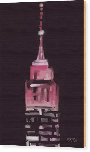 Pink Empire State Building New York At Night Wood Print