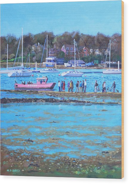 Pink Ferry On The River Hamble Wood Print