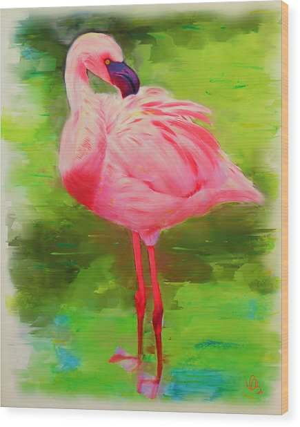 Wood Print featuring the painting Pink Flamingo by Deborah Boyd