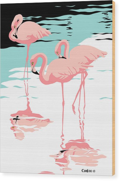 Pink Flamingos Tropical 1980s Abstract Pop Art Nouveau Graphic Art Retro Stylized Florida Print Wood Print