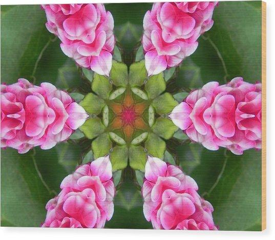 Pink Flower Star Mandala Wood Print