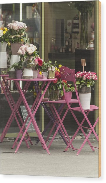 Pink Flower Table Paris Wood Print